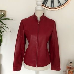 ❤️Petite Sophisticate❤️ Red Leather Jacket